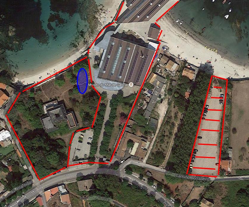 Vista satelite de Google Maps de la zona del Museo del Mar de Vigo
